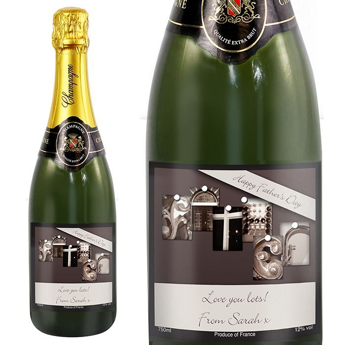Personalise this FATHER champagne with any message of your choice The image on the label is made up of different architectural images to display the