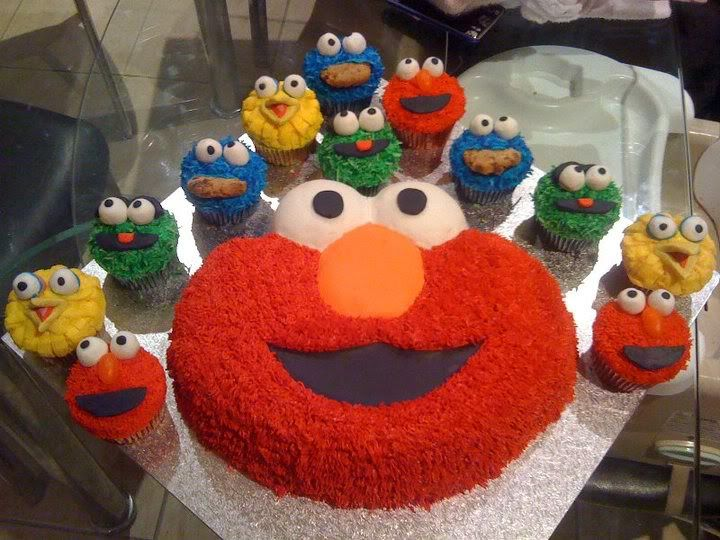 Elmo cake and cupcake friends So Cute! orange jelly bean for elmo's nose