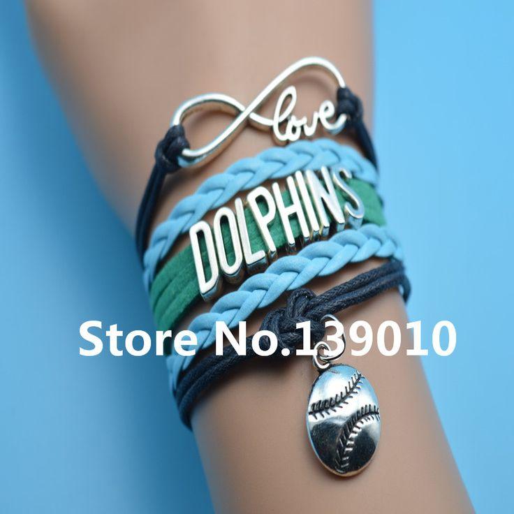 Бесконечность любовь дельфины бейсбол оптово-афк команда браслет синий Grean черный кожаный каната манжеты обертывание настроить нкаа спорт браслет браслет
