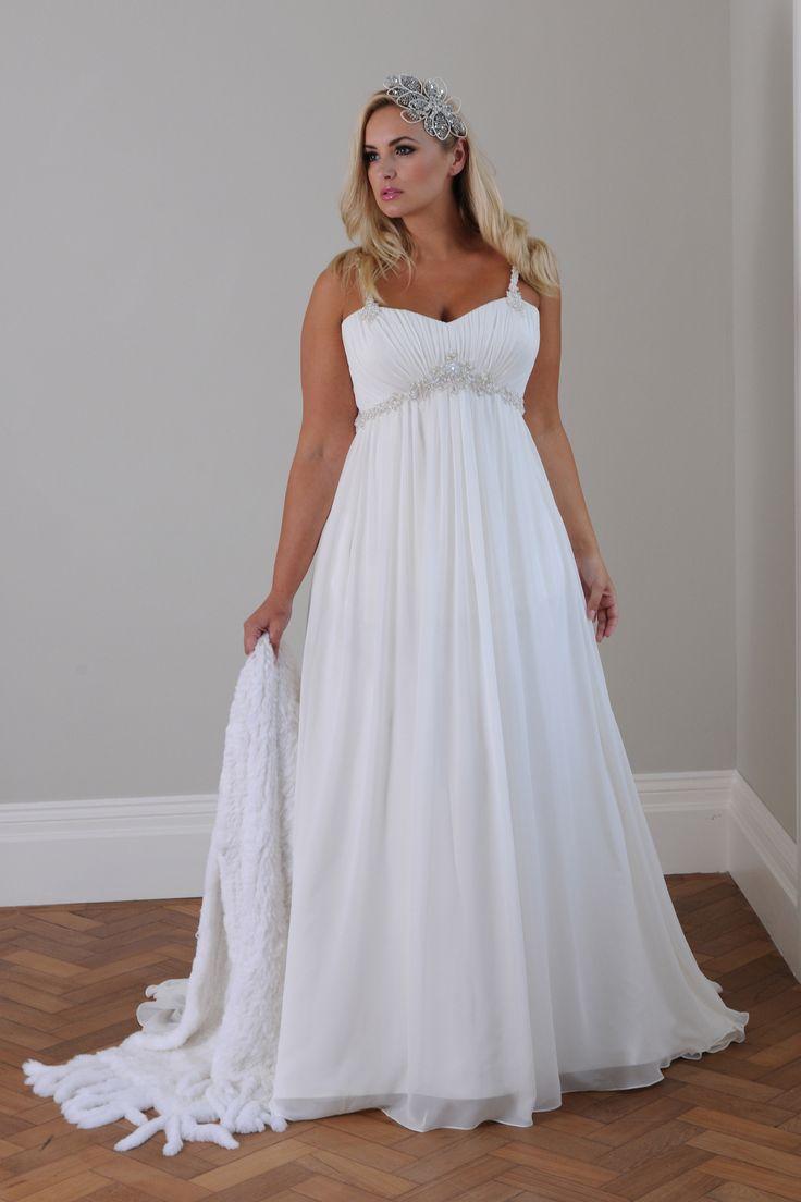 Wedding dress under 500  Cap Sleeve Chiffon ALine Plus Size Wedding Dress  Soft White W