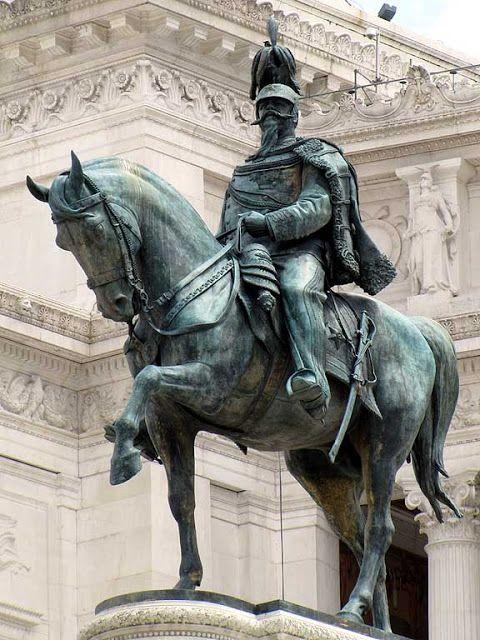 "The equestrian statue in Rome, by the sculptor Enrico Chiaradia, is the heart of the immense ""Altare della Patria"" (Altar of the Fatherland) dedicated to Vittorio Emanuele II"