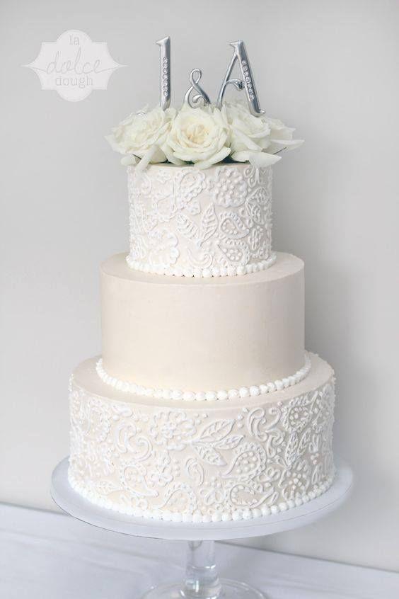 Wedding Cake Ideas/ White Texture/ Paisley Design/ Follow me @ Melissa Riley- for more modern wedding ideas, modern wedding cake ideas, modern wedding dress collections, wedding hairstyles, modern eye makeup ideas, wedding reception lighting and decor, modern interior design ideas. transcendentwoman