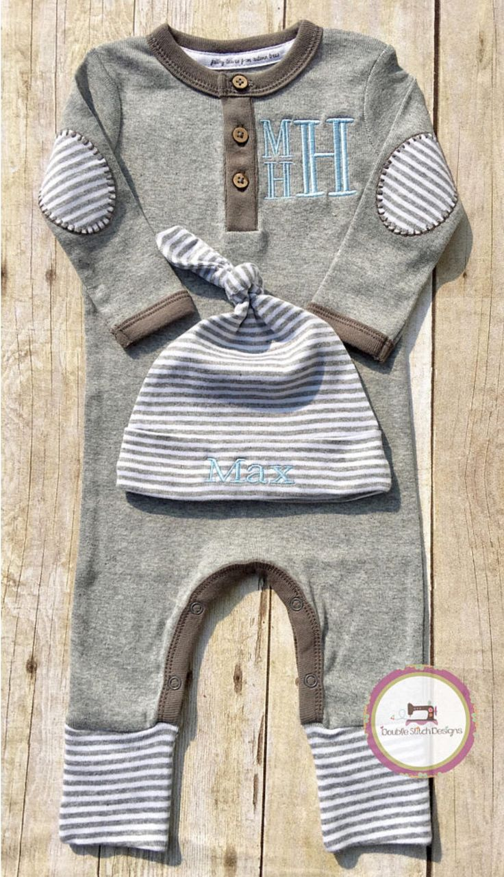 Baby boy bring home outfit, organic baby clothes, monogrammed baby boy, infant sleeper, baby shower gift boy, gray and blue by DoubleStitchDesigns1 on Etsy https://www.etsy.com/listing/545078741/baby-boy-bring-home-outfit-organic-baby