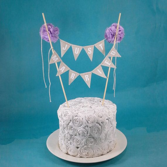 Rustic wedding Cake topper wedding Lavender Linen cake