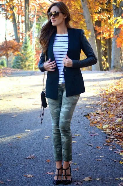 camo pants, stripes, blazer, valentino pumps.: