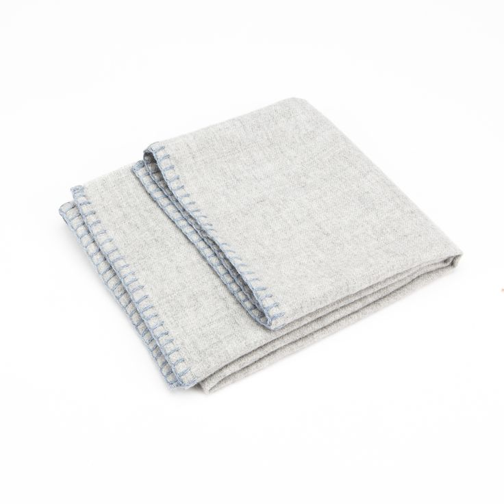 ethicaltrend baby alpaca grey and light blue hem baby blanket