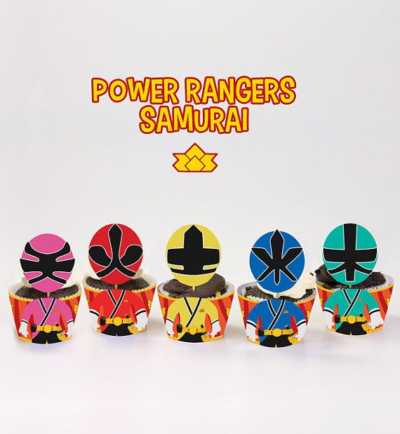 Power Rangers Samurai Inspired Cupcake Toppers Wrappers Birthday Party Printables / Instant Digital Download DIY