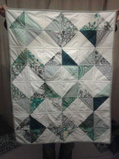 Blue, green and grey baby boy quilt