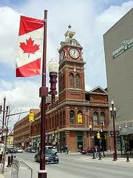 Peterborough Ontario, Canada - walk around downtown, nice old clock and very pleasant shops and area to walk all round