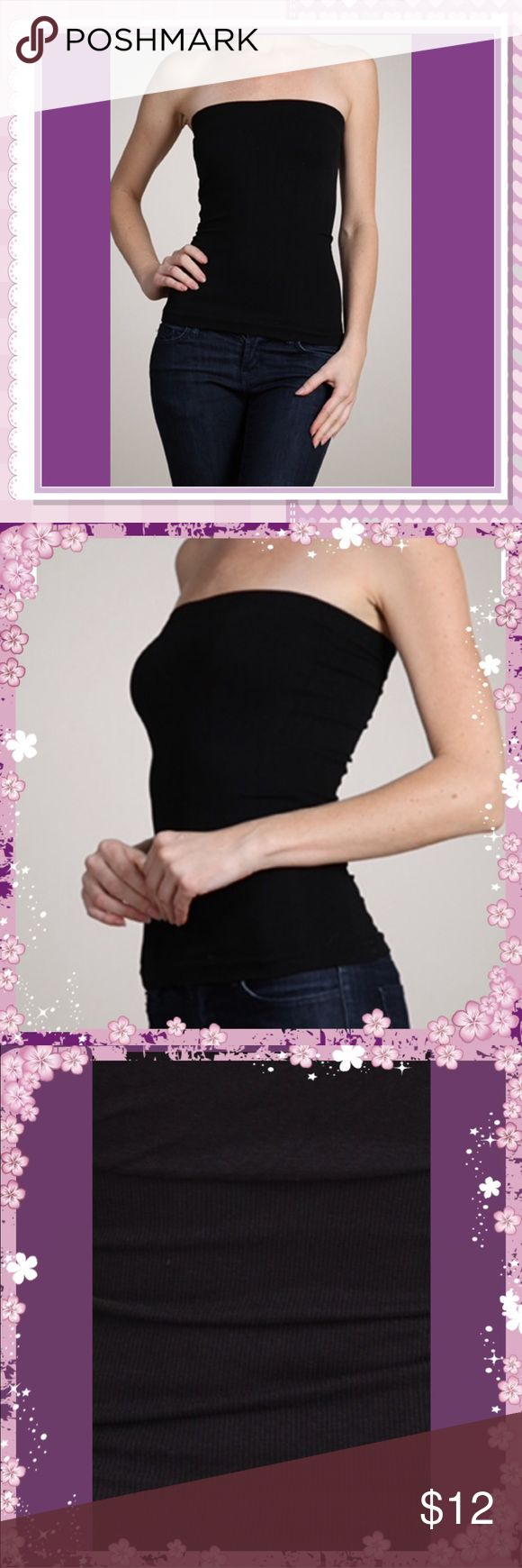 🖤Black Seamless Strapless Tube Top 🖤Black Seamless Strapless Tube Top  • Ribbed (thin) see photo 3 • 92% Nylon 8% Spandex  •Stock photos 1,2,4 •Straight from vendor, no tag but in a sealed bag. Tops Camisoles