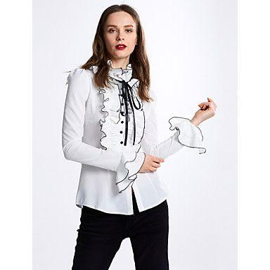 Damen+Solide+Einfach+Lässig/Alltäglich+Hemd,Halskrause+Frühling+/+Herbst+Langarm+Weiß+Polyester+Undurchsichtig+/+Dünn+–+EUR+€+14.10