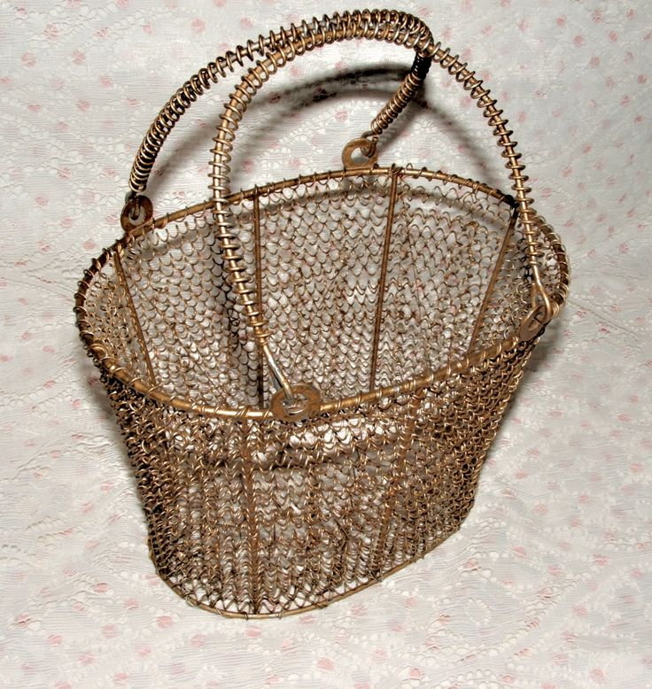 Vintage Gold Hard Wire Basket Oval Deep Wire Chic Basket Double Handle Industrial Linen Basket Vanity Egg Basket by ThriftyMidge on Etsy