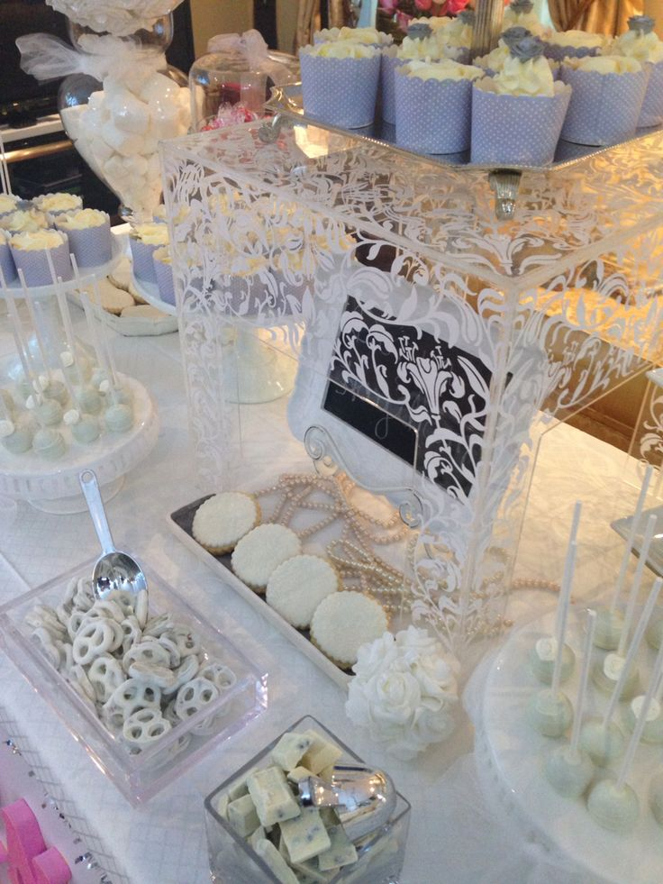 Wedding ~cake pops ~cupcakes ~sweet Candy buffet ~theme silver and white~
