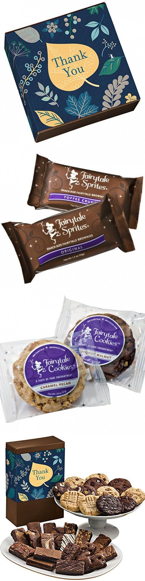 Fairytale Brownies Thank You Deluxe Cookie & Sprite Combo Gourmet Food Gift Basket Chocolate Box - 3 Inch x 1.5 Inch Snack-Size Brownies and 3.25 Inch Cookies - 30 Pieces