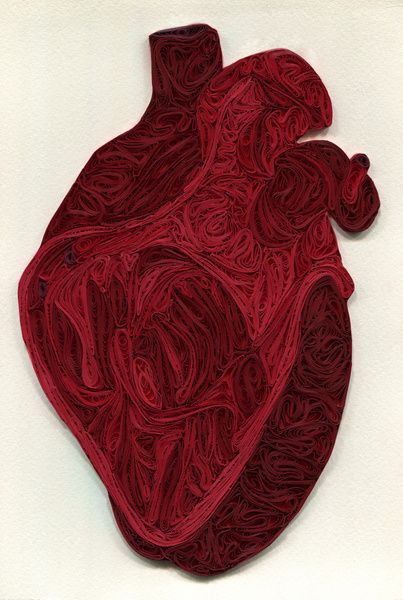 Quilled Anatomy Art by Sarah Yakawonis gothic alternative paper art anatomical heart gift art for valentines day