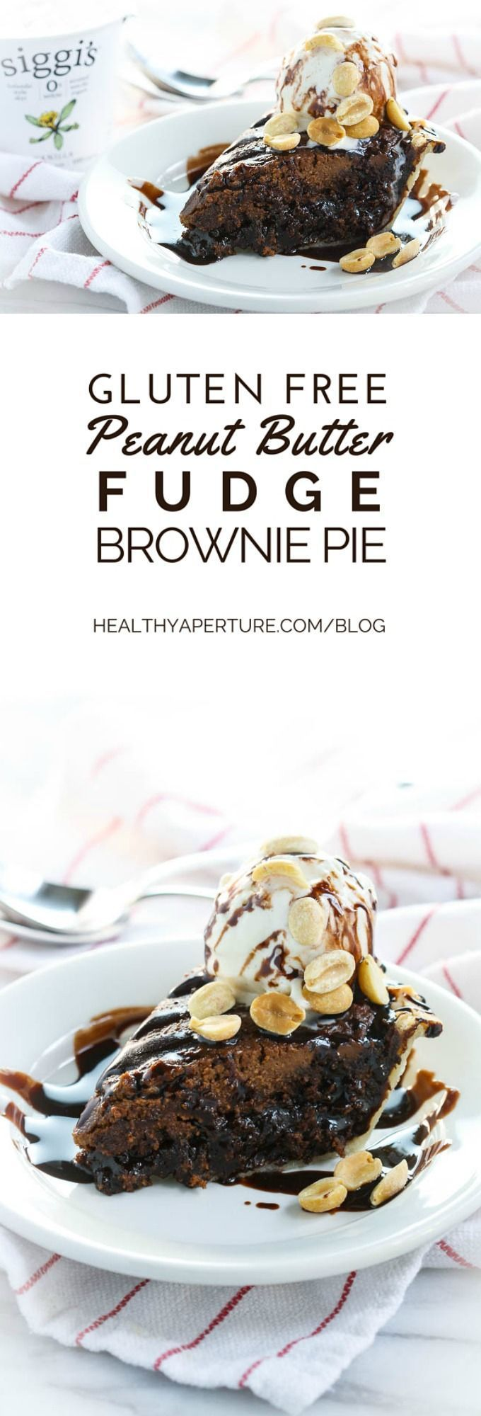 Turn two dessert favorite recipes - peanut butter fudge and brownies - into a gluten free pie that's perfect for the holidays {ad}