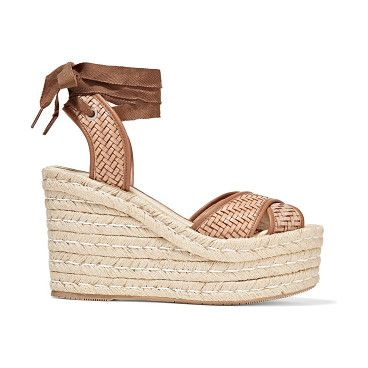 Woven Leather Wedge Espadrille Sandals - by Paloma Barcelo