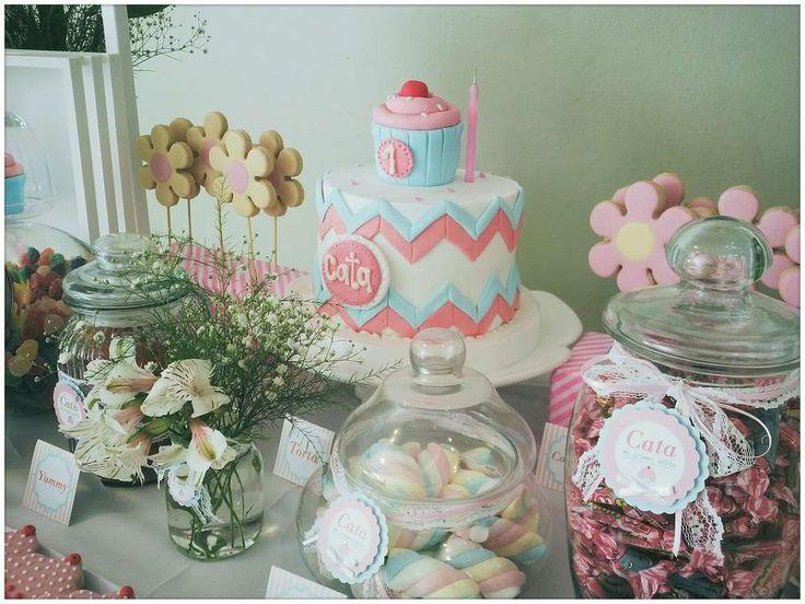 Pink & Aqua Cupcake Birthday Party Ideas | Photo 1 of 16
