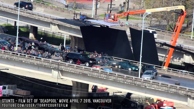 DEADPOOL Movie Filming Stunt Scene - Deadpool Jumps Over Car