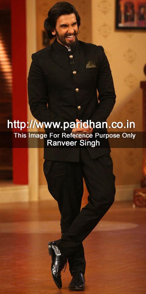 Indian bollywood actor ranveer singh black jodhpuri coat made in linen fabric. It has bottom as breeches made in black color. Dryclean only.