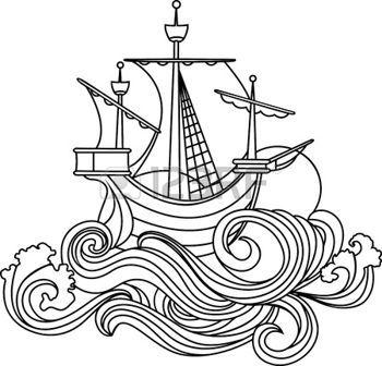 oceaan%3A+Zeilen+schip+in+art+nouveau+stijl.+stencil+Stock+Illustratie