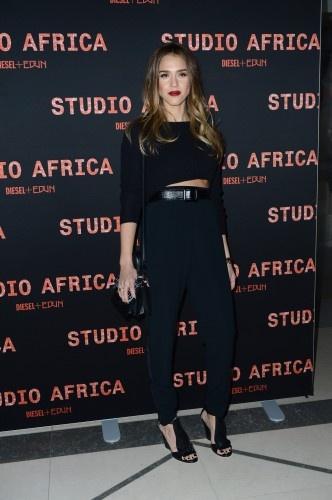 "Jessica Alba in Alba in Maje's ""Apples"" sweater at the DIESEL+EDUN launch of Studio Africa. #pfw 2013"