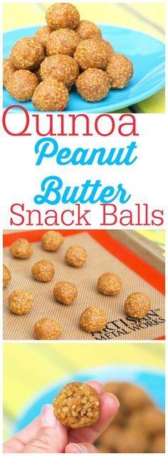4 ingredient Quinoa Peanut Butter Snack Balls. Vegan, Gluten-free and easy!