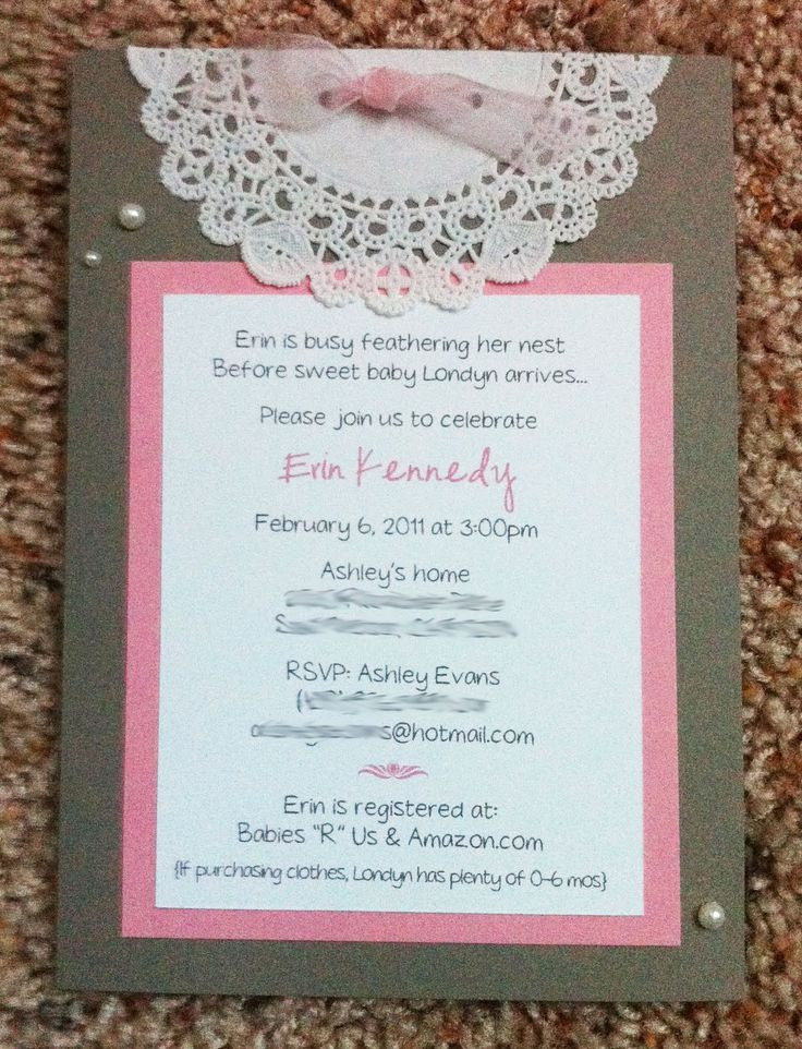 Doilie Baby Shower Invitations