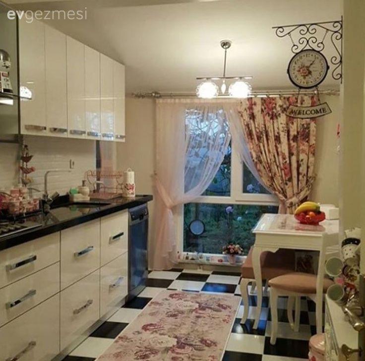 Beyaz mutfak, Mutfak, Pembe, Perde, Saat, Siyah-beyaz