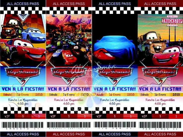 Invitaciones tipo boleto ticketmaster de Cars