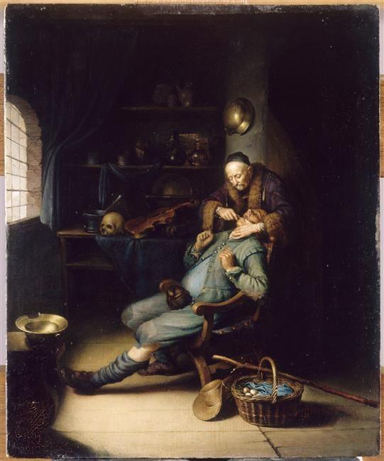 """""""L'Arracheur de dents"""" de Gérard Dou (1613-1675). Paris, musée du Louvre - Photo (C) RMN-Grand Palais (musée du Louvre) / Gérard Blot"""