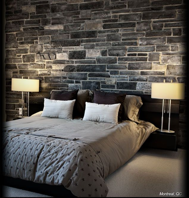 love interior stone accent walls and columns gives rustic classy look faux stone is feature wall bedroombedroom - Feature Wall Bedroom