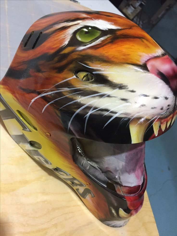 Painted this helmet for Domenic of the Aurora Tigers! Bam