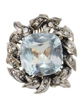 Ring in rose and silver gold, diamonds and aquamarine.