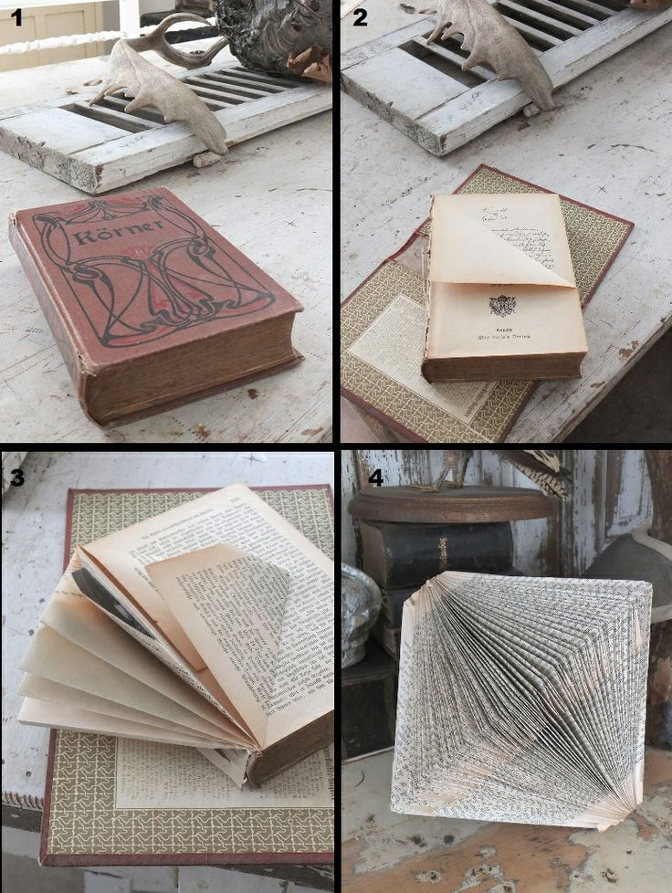 Book Folding Technique - this design is relatively simple and requires removal of the hard cover (which can be used for other projects) - more detailed tutorial at Princess GreenEye blog