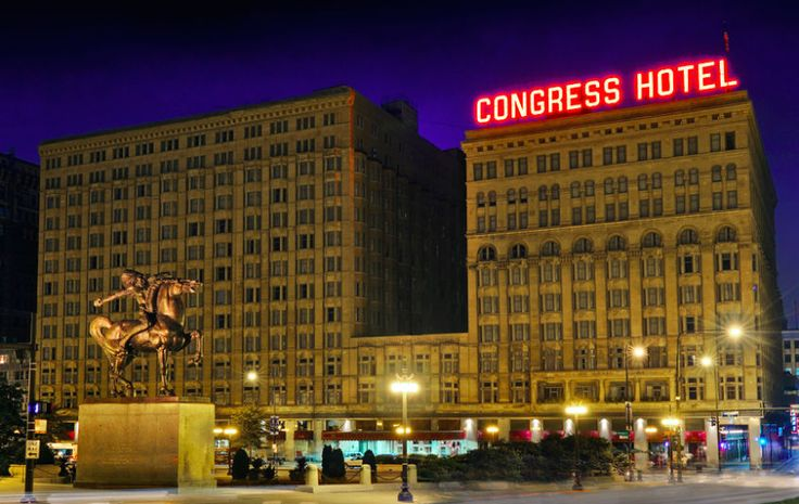 Most Haunted Hotels In America - The Congress Plaza Hotel, Chicago, IL. On edge of Grant Park--city views better than lake. from late 1800s--several presidents stayed, inc Teddy, FDR, Wilson, & Nixon. 1 king. $147 Groupon.