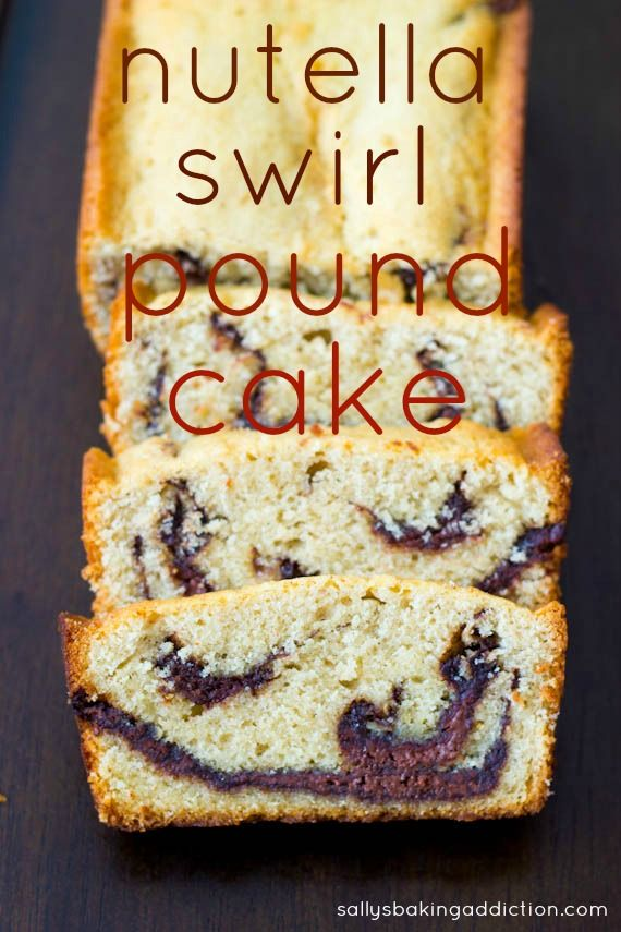 Buttery, tender pound cake with a thick Nutella Swirl. Easy recipe by sallysbakingaddiction.com