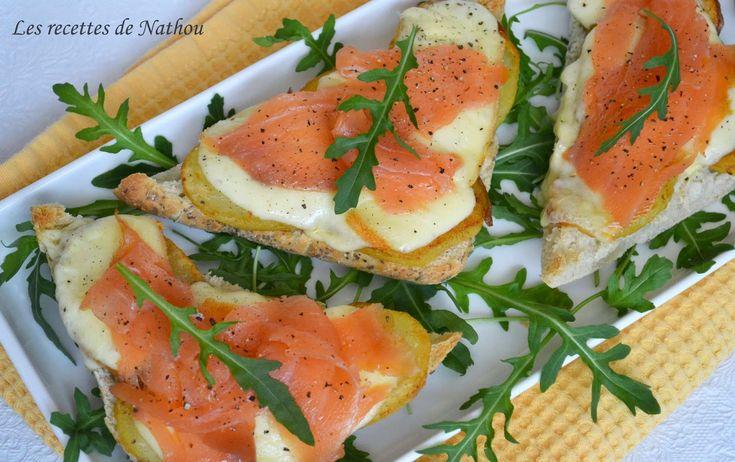 Ingresos Nathou: Bruschetta con salmón ahumado, patatas fritas y queso raclette