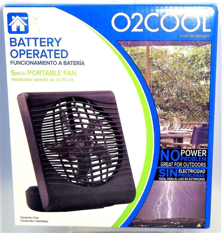 O2COOL 5 inch Portable Fan Black Battery Operated 2 Speeds Adjustable Tilt NEW #O2COOL
