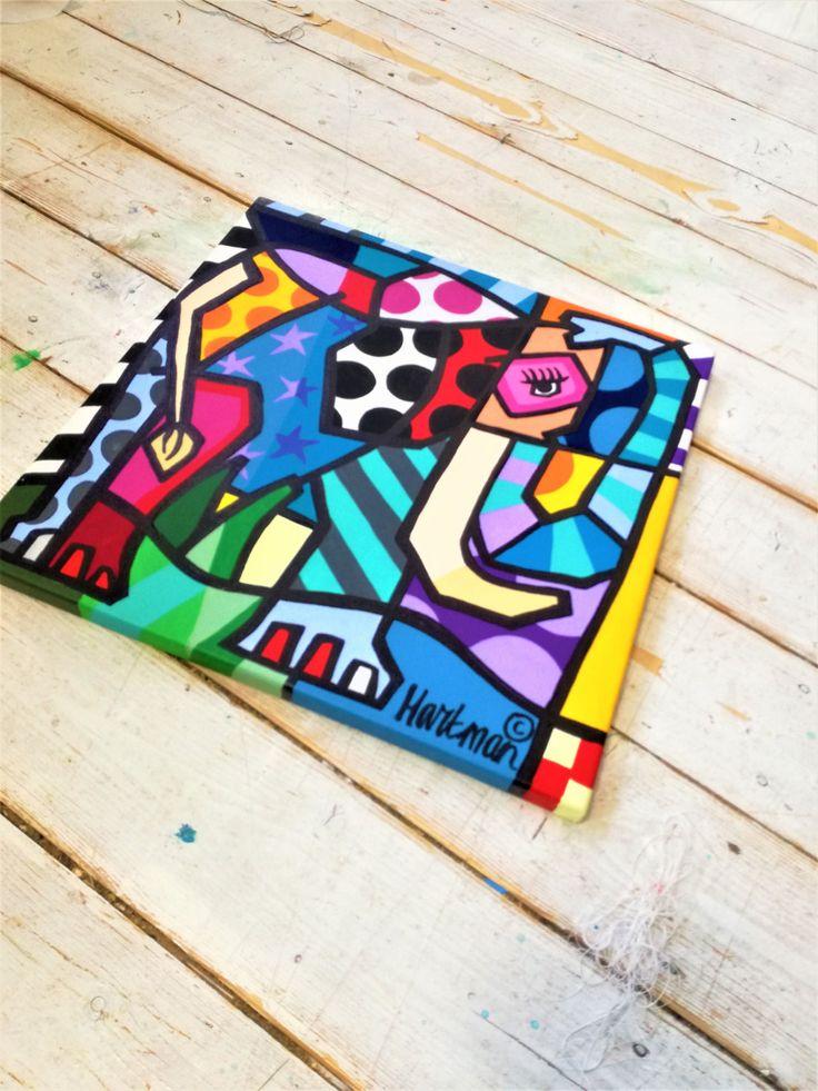 Elephant Painting , Pop Art, Pop Art Painting, Elephant Pop Art, Colorful Painting, Neo Pop Art, Original Painting, Colorful Pop Art by MevrouwHartman on Etsy