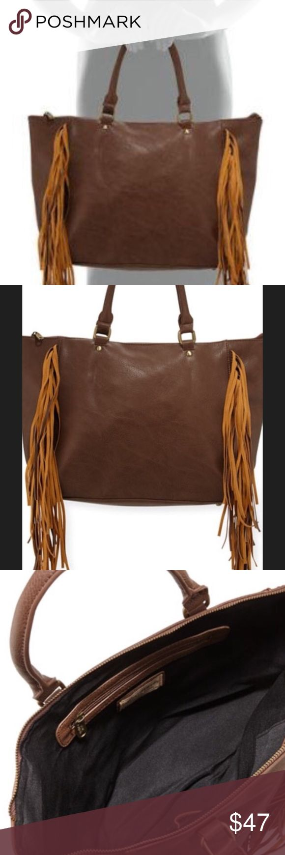 Urban Original Oasis Handbag with Fringe Leather soft as butter! Large enough to hold all your goodies and a small laptop.  Long Leather Fringe on front sides add extra Flare.  Gold hardware including feet buttons to protect your bag. Dust cover included   Color shown: Latte. Also available in Nude or Black  NWT Urban Originals Bags Shoulder Bags