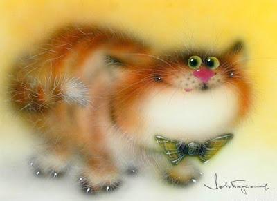 Cute cat art by Russian artist Lev Bartenev.