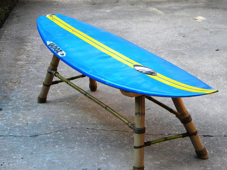 Surfboard bench made with bamboo, hemp chord, old surfboard