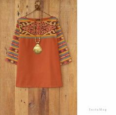Stitch fix : love short and necklace :combined tenun and cotton fabric