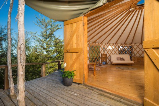 www.bookabach.co.nz/28851 Aniwaniwa Yurt Stay; retreat in nature Motueka Valley, soak up the views to the sea, river and mountains around.