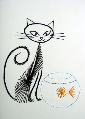 Catsparella: 3 Beautiful Hand Stitched Cat Greeting Cards by Boo-Teeq