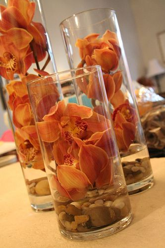 Orchids and river rocks in cylinder vases