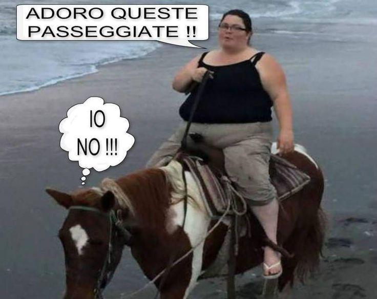 Donna obesa su un cavallo