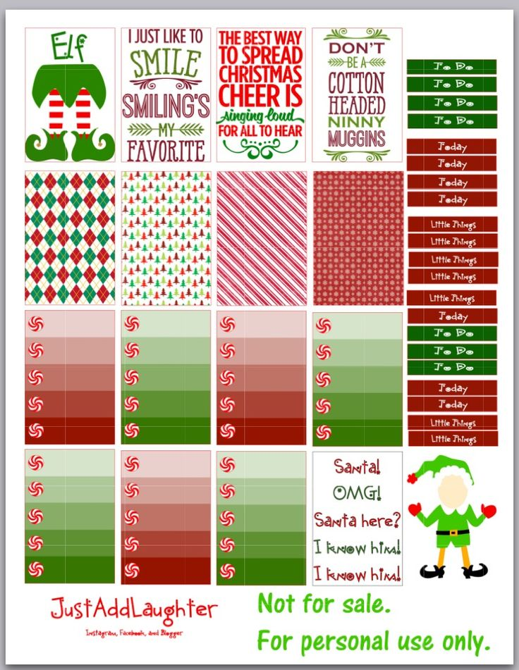 FREE Elf Planner Stickers Christmas ON justaddlaughter.blogspot.com