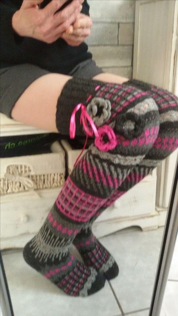 Handestrickte Overknees aus 4-fach Sockenwolle